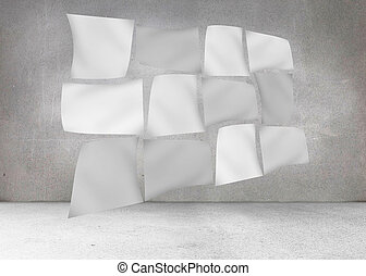 Floating sheets in front of grey wall