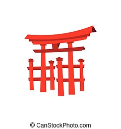 Floating Torii gate, Japan icon, flat style