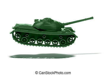 Floating Toy Army tank isolated over white