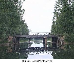 Floating under river bridge