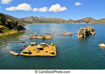 Floating Uros islands, lake Titicaca, Bolivia/Peru