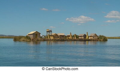 Floating Uros Reed Homestead, Lake Titicaca, Peru - Wide...