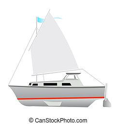 floating., vector, zeilboot, illustration.