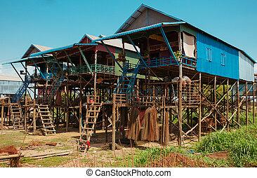 Floating Village in Cambodia Kampong Phluk Pean Bang, Tonle Sap Lake