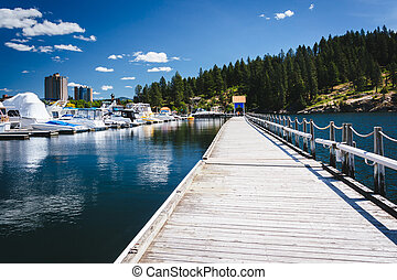 Floating walkway over Lake Coeur d'Alene, in Coeur d'Alene,...
