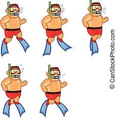FloatingScuba Diver Boy Game Sprite - Vector Illustration of...