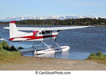 floatplane, 통하고 있는, beluga, 호수