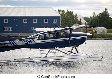 Floatplane moves into position for take off near Ted Stevens National Airport