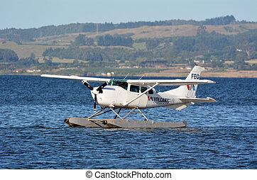 floatplane, sur, lac, rotorua, nouvelle zélande