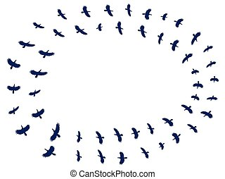 Flock birds. Silhouettes of birds on a white background. Vector illustration