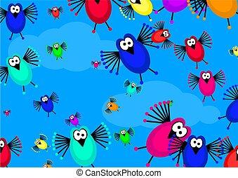 flock of birds - cartoon flock of birds flying in the sky...