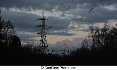 Flock of birds fly around transmission tower at dusk