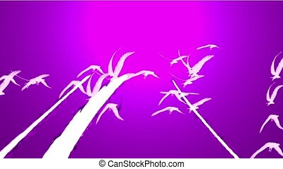 flock of birds fly over against purple sky, migratory birds.