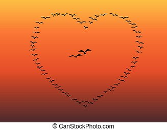 Flock Of Birds Flying Heart