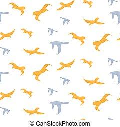 Flock of birds seamless vector pattern.
