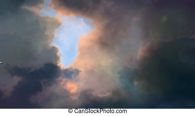 Flock of birds soars in cloudy sky
