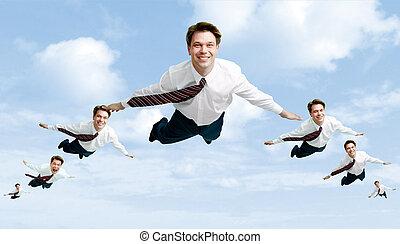 Flock of businessmen - Conceptual image of many businessmen...