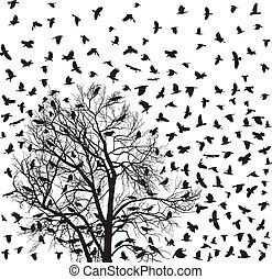Flock of crows over tree
