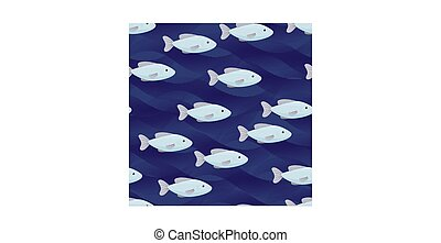 flock of fishes seamless pattern