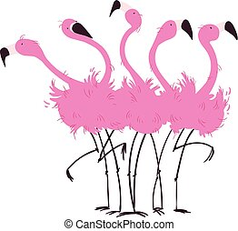 Flock of flamingos vector illustration