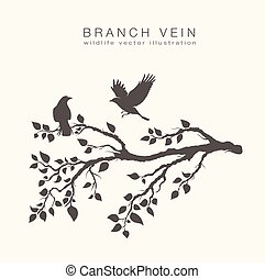 flock of flying birds on tree branch with leafs