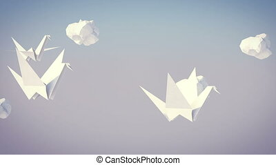 """Flock of Flying Paper Cranes"" - ""A dreamlike 3d rendering..."