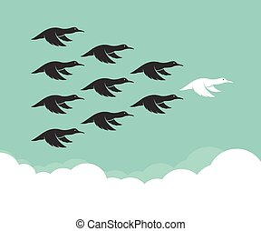 Flock of mallard flying in the sky, Leadership concept, Wild Duck