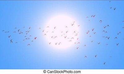 flock of pigeons birds fly over against sun, migratory birds.