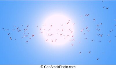 flock of pigeons birds fly over against sun,migratory birds.