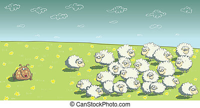 Flock of Sheep and Sheepdog. Illustration is in eps10 vector mode!
