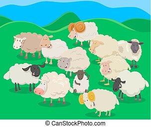 flock of sheep cartoon illustration - Cartoon Illustration...