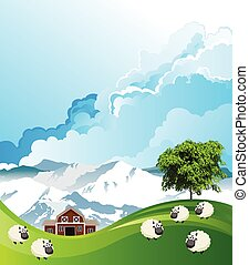 Flock of sheep grazing - Picturesque rural scene with a ...