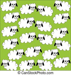 Flock of sheep on green background