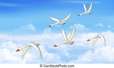 Flock of Swans Flies in the Sky. Handmade animation, motion...