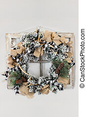 Flocked Christmas Wreath with Antlers Burlap and Ribbon