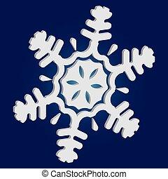 flocon de neige, arrière-plan., noël, bleu, simple