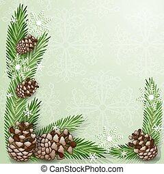 flocon de neige, cône, pin, branche