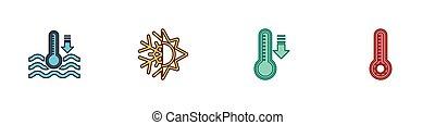 flocon de neige, ensemble, eau, icon., thermomètre, vecteur, météorologie, soleil