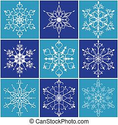 flocon de neige, ensemble, noël, icône