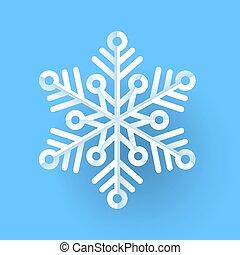 flocon de neige, fond, bleu, isolé, blanc