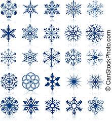 flocon de neige, formes, ensemble, 2