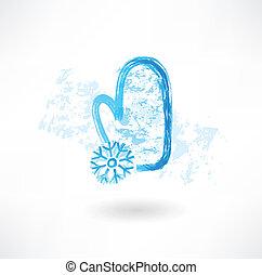 flocon de neige, grunge, moufle, icône