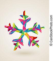 flocon de neige, multicolors, joyeux noël, carte, célébration