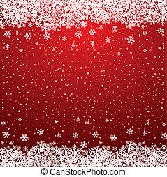 flocon de neige, neige, étoiles, blanc rouge, fond