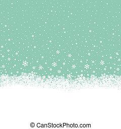 flocon de neige, neige, étoiles, blanc vert, fond