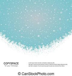 flocon de neige, neige, étoiles, bleu, fond blanc