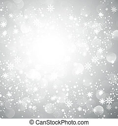 flocon de neige, noël, fond, argent