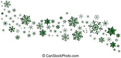 flocon de neige, noël, vert, bannière