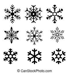flocon de neige, silhouette, noir, vecteur, icônes, illustration