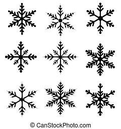 flocon de neige, silhouettes